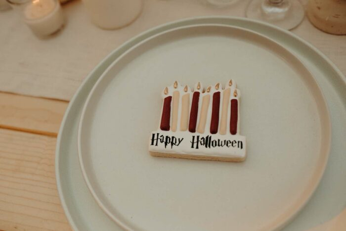 Happy Halloween Candle Cookie from a Harry Potter Halloween Party on Kara's Party Ideas | KarasPartyIdeas.com
