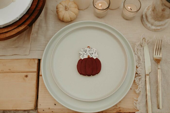 Harry Potter Pumpkin Cookie + Table Setting from a Harry Potter Halloween Party on Kara's Party Ideas | KarasPartyIdeas.com