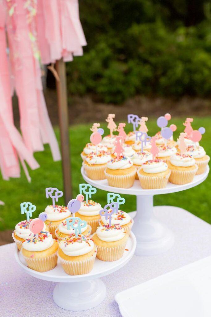 Balloon-inspired Cupcakes from a Pastel Rainbow Bubble Bash on Kara's Party Ideas   KarasPartyIdeas.com