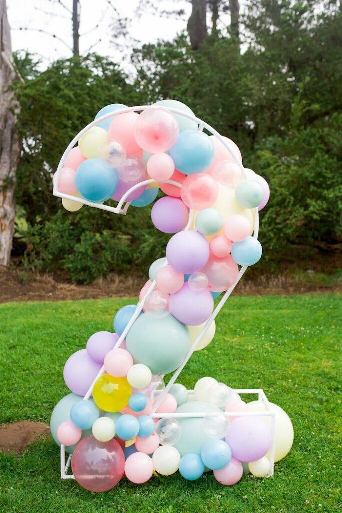 Wire Pastel Balloon Mosaic from a Pastel Rainbow Bubble Bash on Kara's Party Ideas   KarasPartyIdeas.com