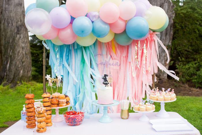 Pastel Rainbow Dessert Table from a Pastel Rainbow Bubble Bash on Kara's Party Ideas   KarasPartyIdeas.com