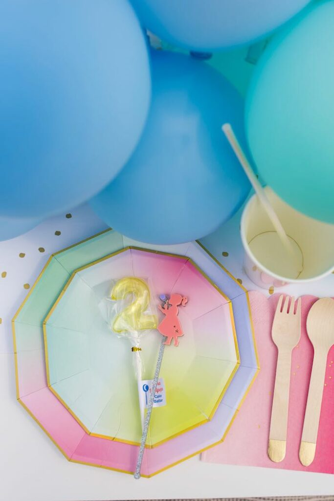 Pastel Rainbow Guest Table Setting from a Pastel Rainbow Bubble Bash on Kara's Party Ideas   KarasPartyIdeas.com