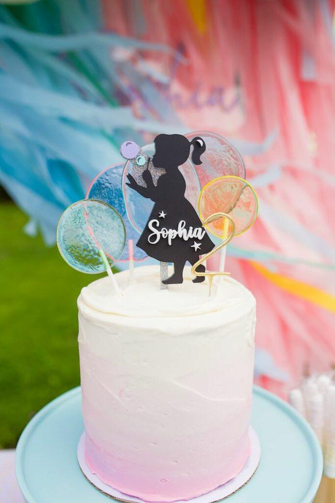 Bubble Themed Birthday Cake from a Pastel Rainbow Bubble Bash on Kara's Party Ideas   KarasPartyIdeas.com
