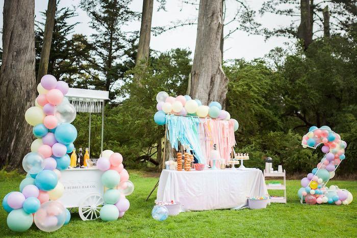 Pastel Rainbow Bubble Bash on Kara's Party Ideas   KarasPartyIdeas.com