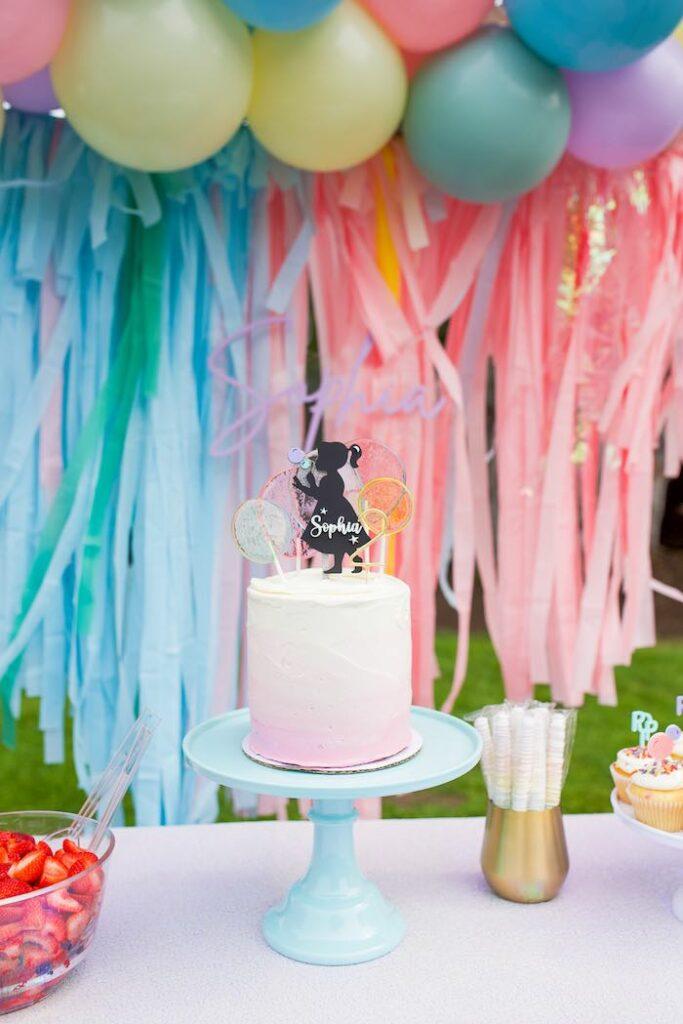 Pastel Cake Table from a Pastel Rainbow Bubble Bash on Kara's Party Ideas   KarasPartyIdeas.com