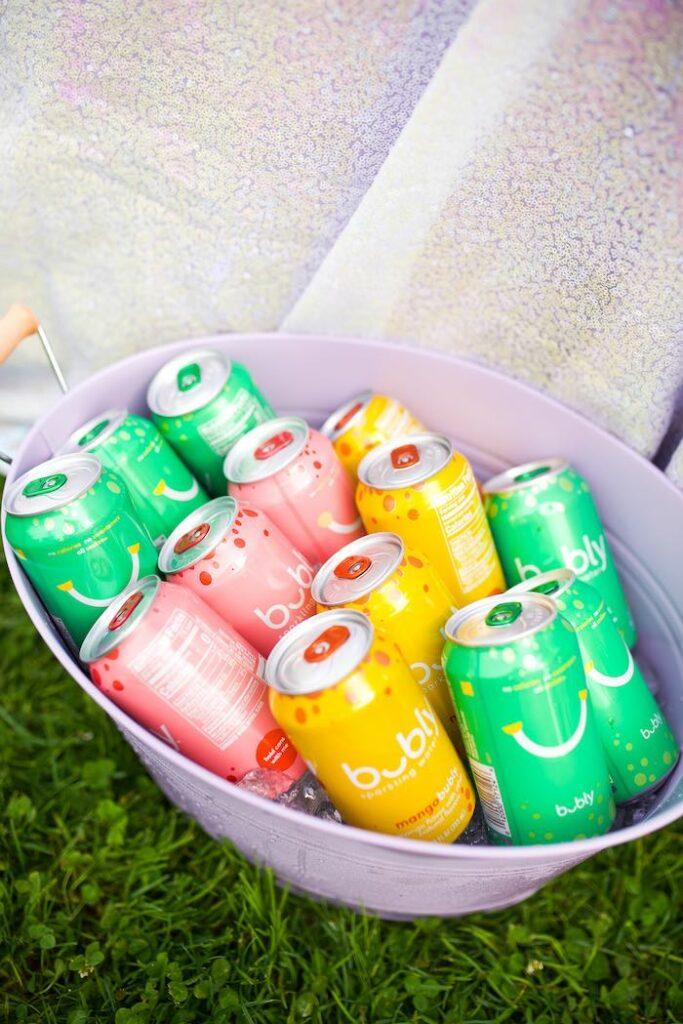 Drinks from a Pastel Rainbow Bubble Bash on Kara's Party Ideas   KarasPartyIdeas.com