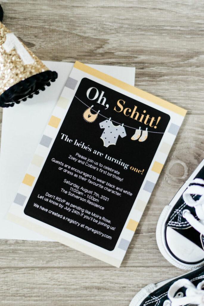 Party Invite from a Schitt's Creek Inspired 1st Birthday Party on Kara's Party Ideas | KarasPartyIdeas.com