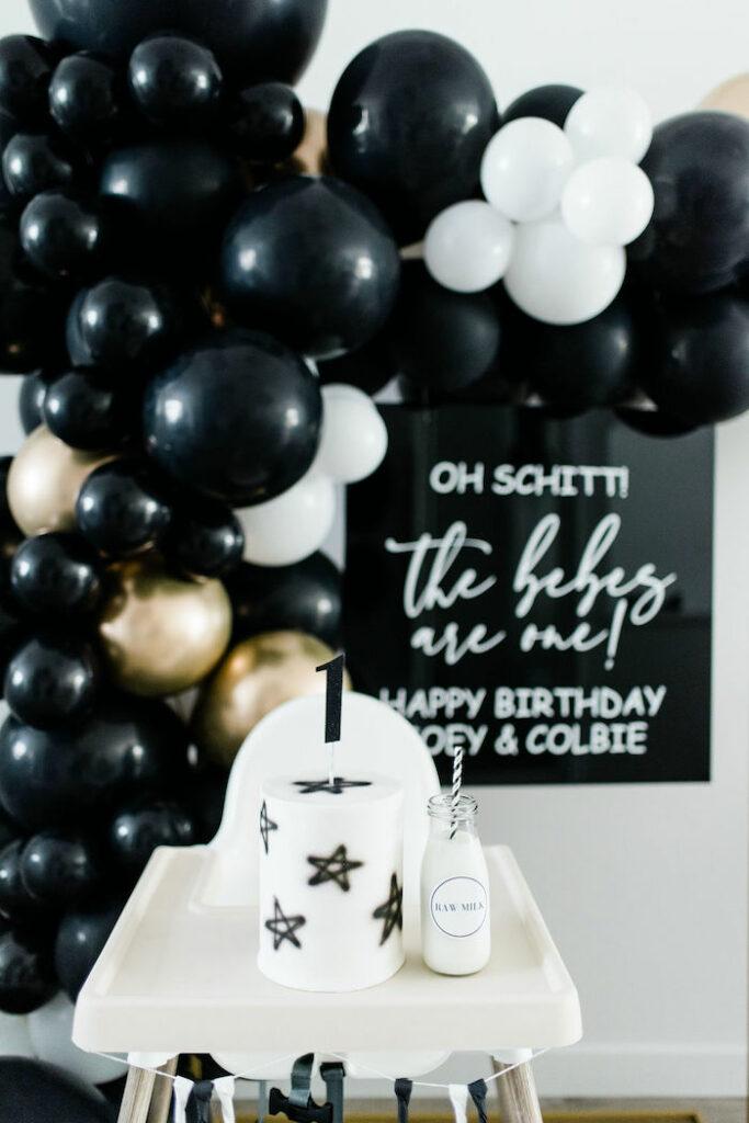 Black + White Star Smash Cake + Highchair from a Schitt's Creek Inspired 1st Birthday Party on Kara's Party Ideas | KarasPartyIdeas.com