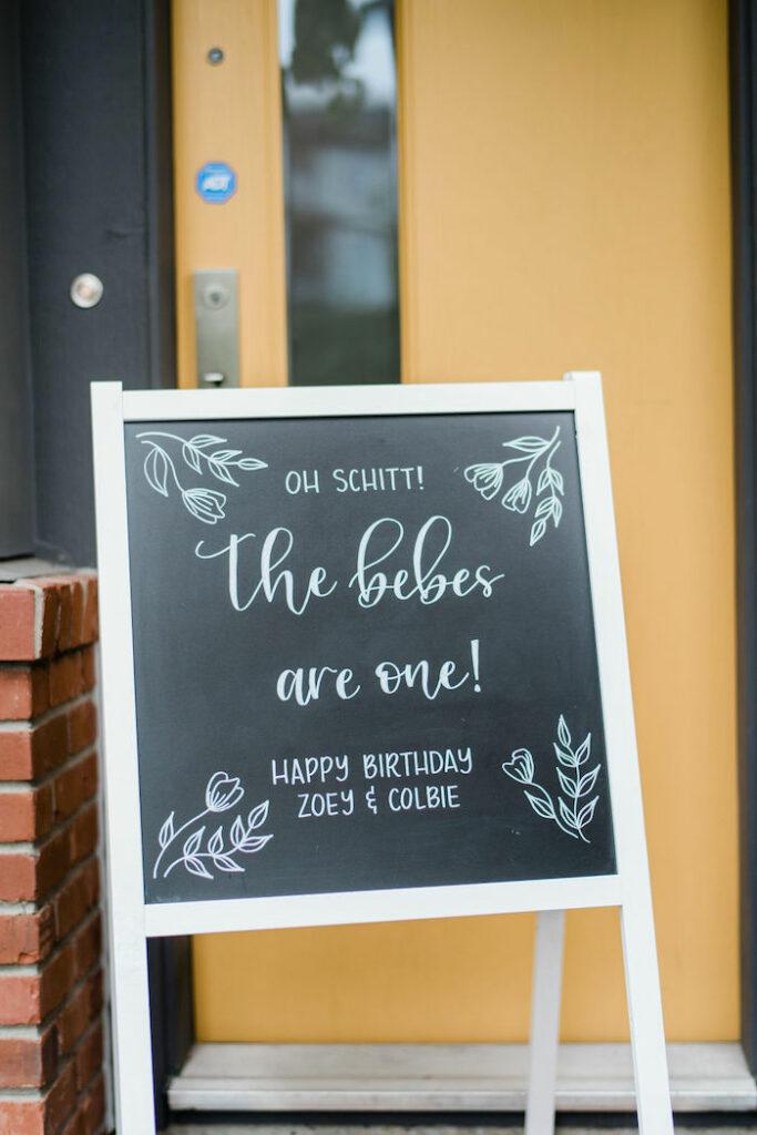Welcome Chalkboard from a Schitt's Creek Inspired 1st Birthday Party on Kara's Party Ideas | KarasPartyIdeas.com