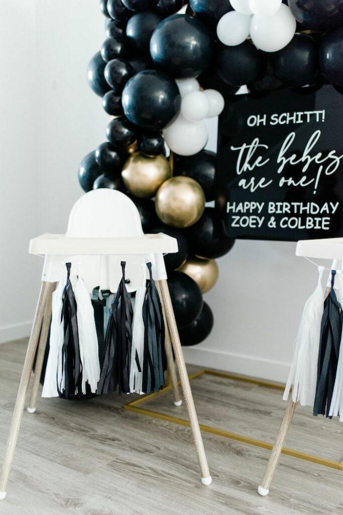 Highchair from a Schitt's Creek Inspired 1st Birthday Party on Kara's Party Ideas | KarasPartyIdeas.com
