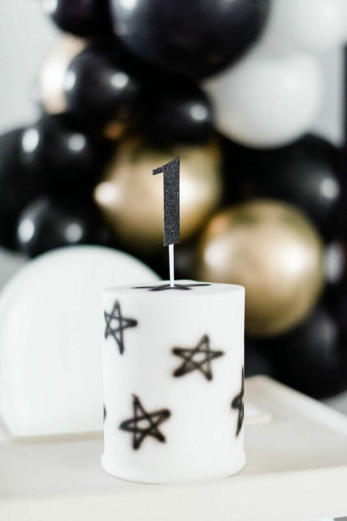 Black + White Star Smash Cake from a Schitt's Creek Inspired 1st Birthday Party on Kara's Party Ideas | KarasPartyIdeas.com