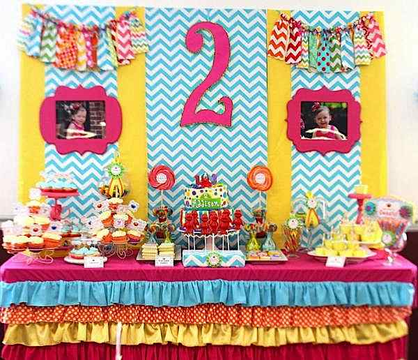 Kara 39 s party ideas sesame street elmo girly girl rainbow for 2nd birthday party decoration ideas