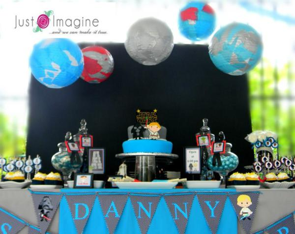 karas party ideas star wars boy space darth vader luke skywalker birthday party planning - Star Wars Party Decorations