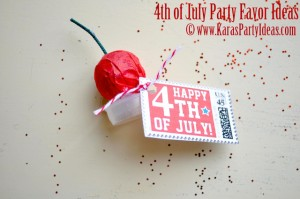 4th of July party favor idea! Smoke bombs in gumball tube available in Kara's Party Ideas shop. Glue a smoke bomb to the lid. Via www.KarasPartyIdeas.com