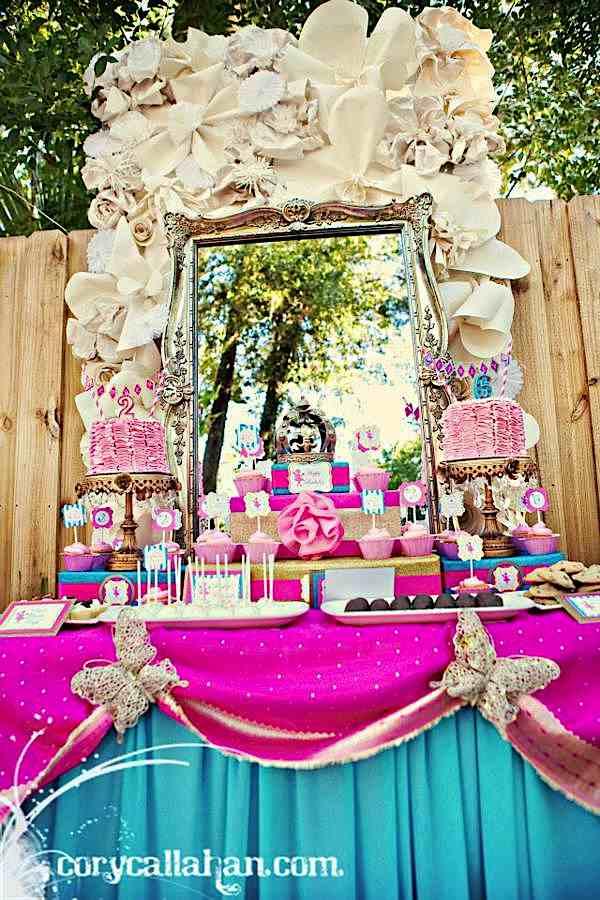 Kara 39 s party ideas fairy themed sisters birthday party - Decorar mesas para eventos ...