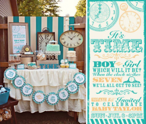 Clock themed gender reveal baby party! via Kara's Party Ideas- www.KarasPartyIdeas.com