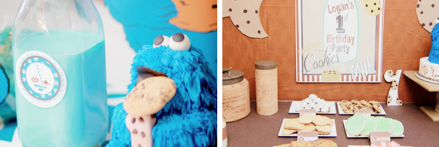 Cookie Monster cookies & milk birthday party via www.KarasPartyIdeas.com!