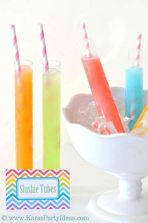 End of Summer Labor Day Treats - Slushie Tubes & Raspberry Lemon Pops! | Kara's Party Ideas