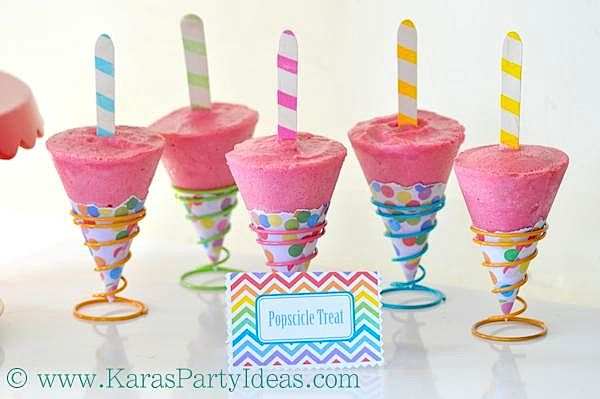 Colorful End of Summer Labor Day Treats - Slushie Tubes & Raspberry Lemon Pops! | Kara's Party Ideas