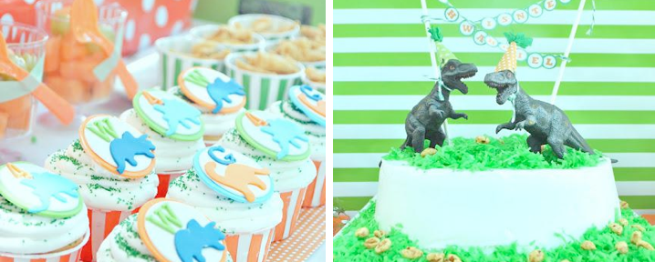 Dinosaur birthday party in orange and green via Kara's Party Ideas- www.Karaspartyideas.com