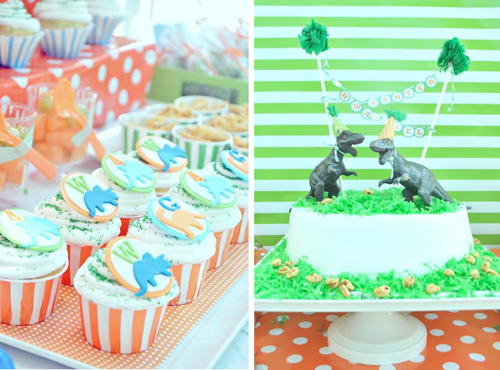 Karas Party Ideas Orange and Green Dinosaur 4th Birthday Party