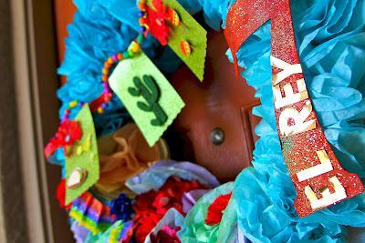 7th birthday mexican fiesta wreath | Kara's Party Ideas