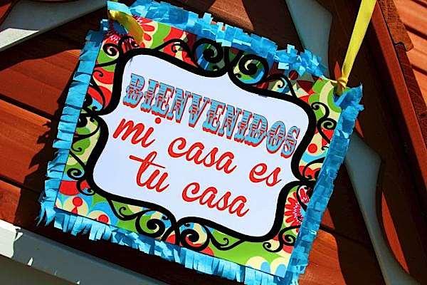 7th birthday mexican fiesta welcome sign bienvenidos sign | Kara's Party Ideas