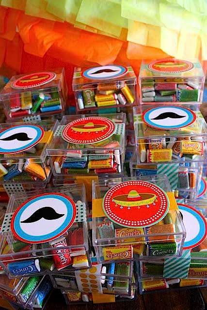 7th birthday mexican fiesta candy favor boxes | Kara's Party Ideas