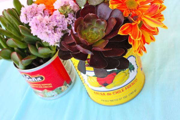7th birthday mexican fiesta succulent centerpieces | Kara's Party Ideas