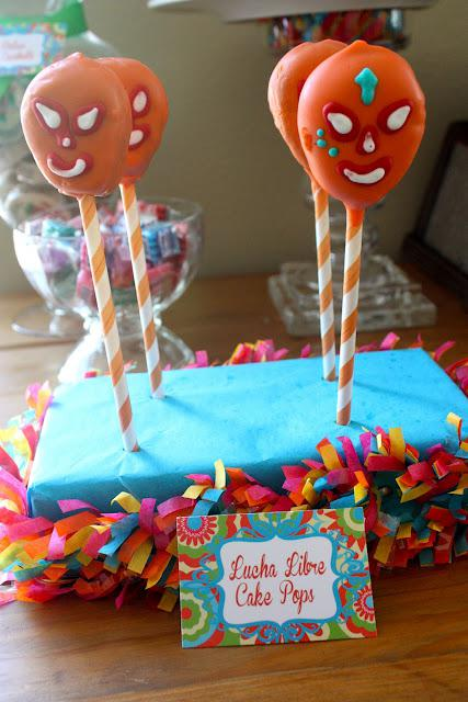 7th Birthday Mexican Fiesta Lucha Libre Cake Pops | Kara''s Party Ideas