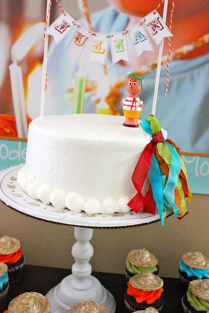 7th birthday mexican fiesta cake with name banner and picada | Kara's Party Ideas