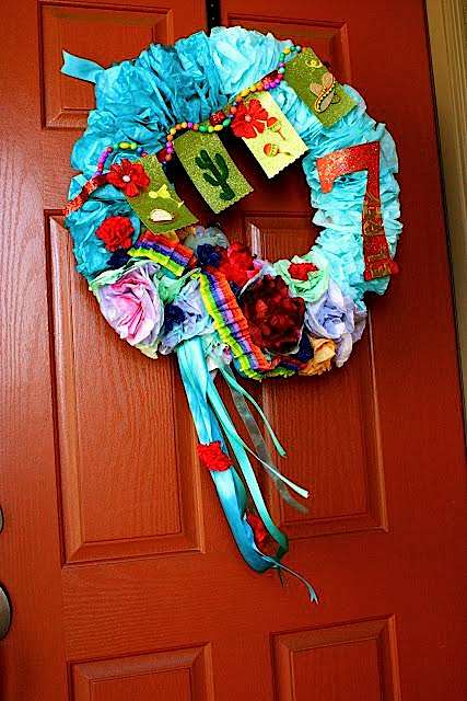 7th birthday mexican fiesta colorful wreath | Kara's Party Ideas