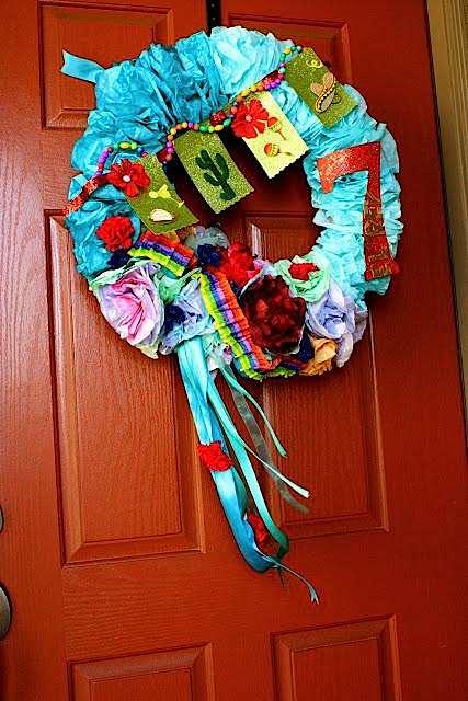 7th birthday mexican fiesta colorful wreath | Kara's Party Ideas