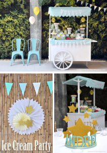 Ice Cream cart 1st birthday party or communion party via Kara's Party Ideas- www.KarasPartyIdeas.com