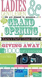Kara's Party Ideas Shop Grand Opening Celebration Giveaway