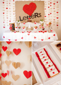 Love letters dessert table husband 39th birthday party via www.KarasPartyIdeas.com