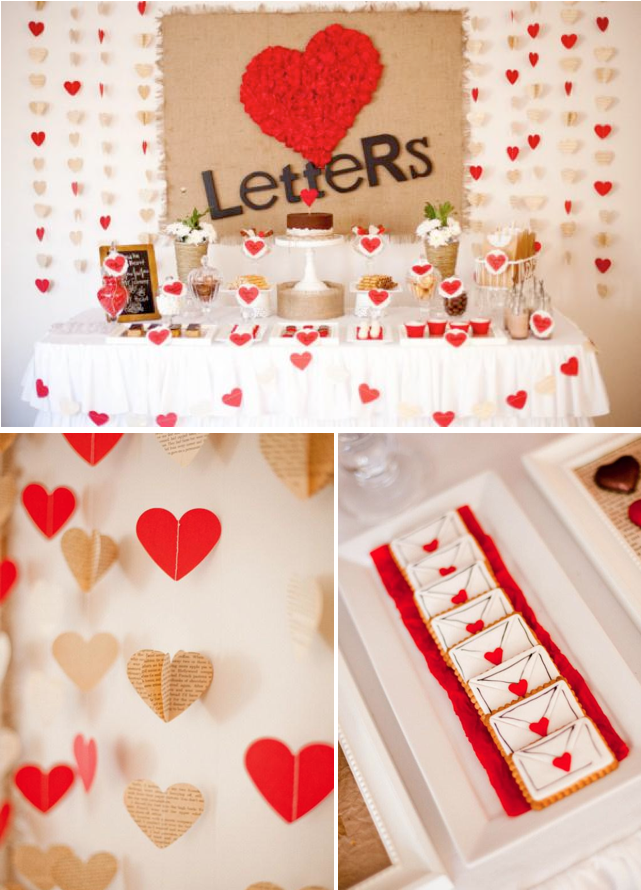 Kara 39 s party ideas love letters dessert table husband for Room decor ideas for husband birthday