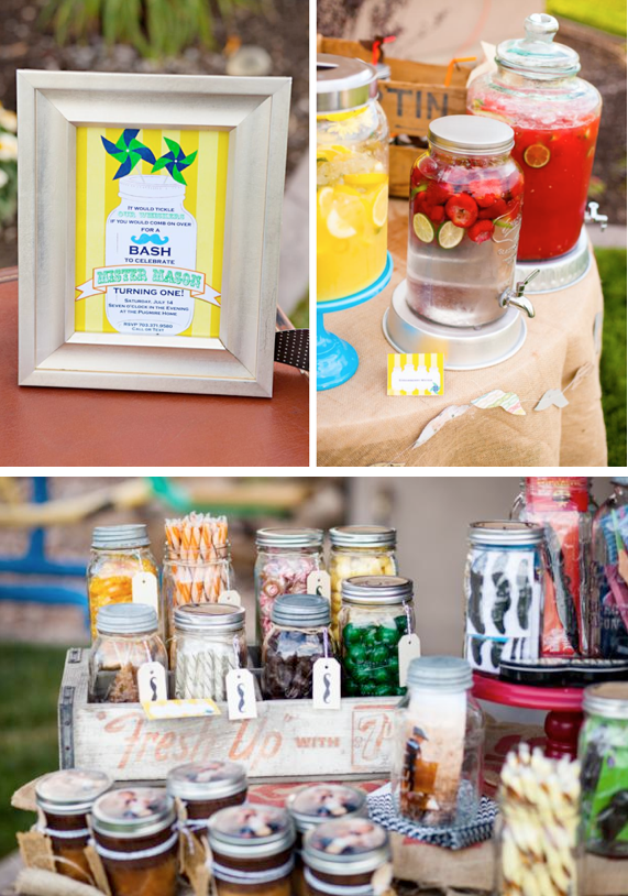 Mr Mason Jar Mustache Bash 1st Birthday Party via Kara's Party Ideas l www.KarasPartyIdeas.com #masonjar #mustache #littleman (4)