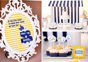 Nautical themed 1st birthday party or baby shower ideas via www.KarasPartyIdeas.com