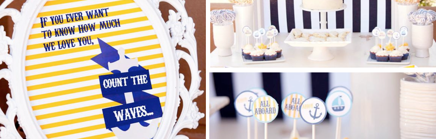 Nautical themed 1st birthday party or baby shower ideas via www.KarasPartyIdeas.com