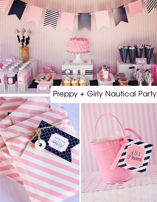 kara 39 s party ideas preppy girly nautical 1st birthday. Black Bedroom Furniture Sets. Home Design Ideas