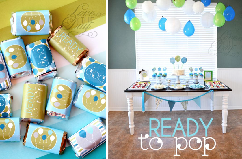 "Kara's Party Ideas ""Ready to Pop"" Blue & Green Baby Shower ..."