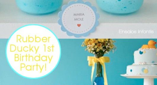 Rubber Ducky Yellow & Blue 1st Birthday Party via Kara's Party Ideas- www.KarasPartyIdeas.com