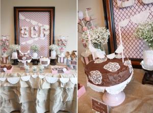 Shabby chic birthday party + communion party + burlap lace + wedding ideas via www.KarasPartyIdeas.com