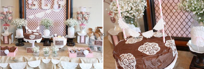 Shabby chic birthday party + communion party + burlap lace + wedding ideas via www.KarasPartyIdeas.com