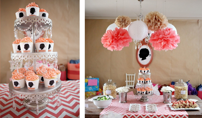 Karas Party Ideas Gilr Silhouette and Chevron Print 2nd Birthday Party