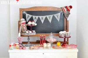 Sock Monkey Birthday Party- Kara's Party Ideas -www.KarasPartyIdeas.com-shop-279