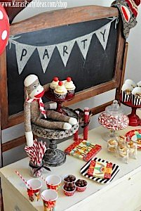 Sock Monkey Birthday Party- Kara's Party Ideas -www.KarasPartyIdeas.com-shop-296