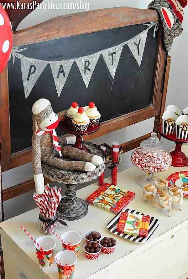 Karas Party Ideas Sock Monkey Birthday Party Karas Party Ideas
