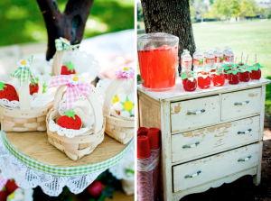 Strawberry picnic birthday party via Kara's Party Ideas- www.KarasPartyIdeas.com